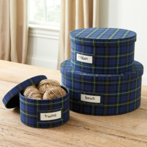 Finley Plaid Boxes - Set of 3