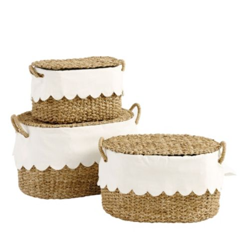 Bunny Williams Nesting Baskets with Scalloped Liner -