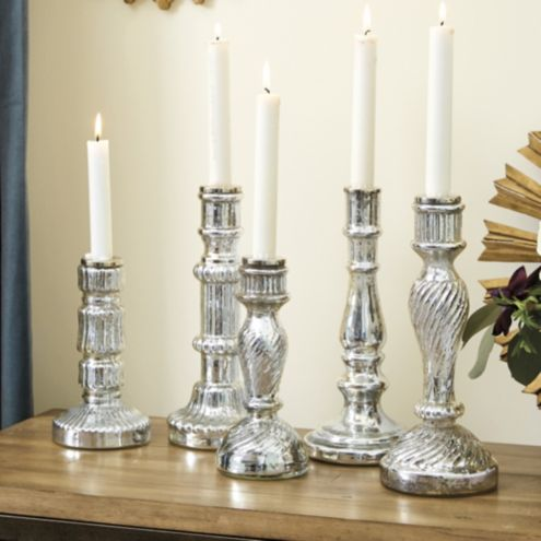 Antiqued Mercury Glass Candlesticks - Set of 5