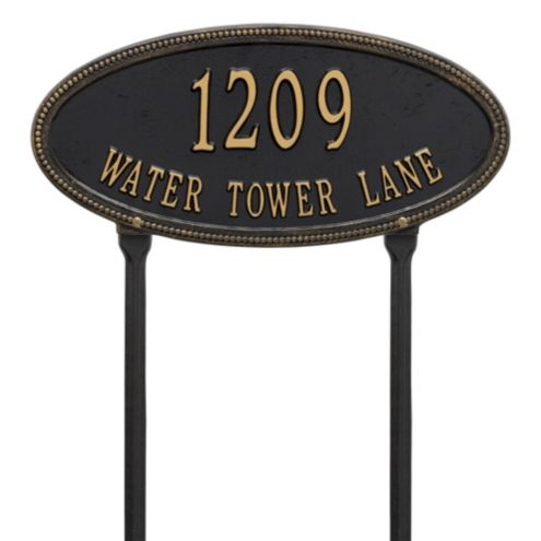 Beaded Oval Two Line Lawn Address Sign