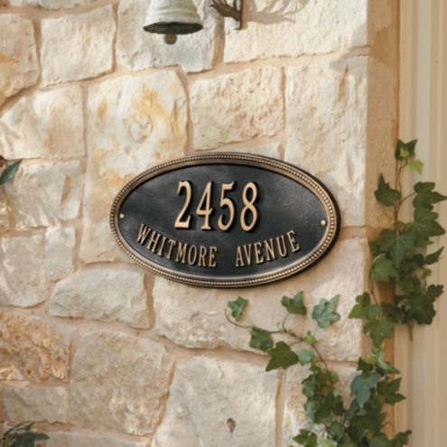 Beaded Oval One Line Wall Address Sign