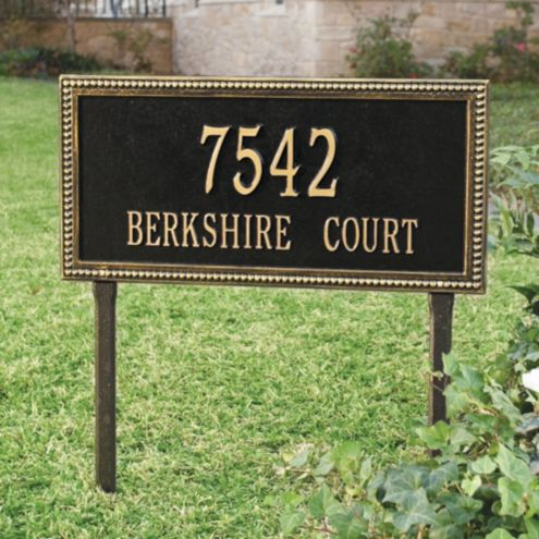 Beaded Rectangle One Line Lawn Address Sign