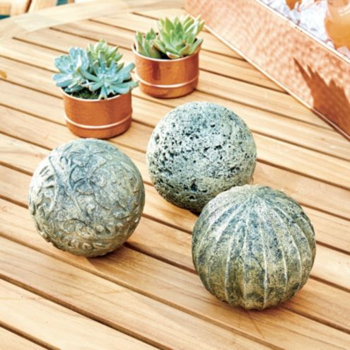 Carved Stone Spheres - Set of 3