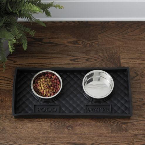 Quilted Rubber Pet Food Tray with Bowl