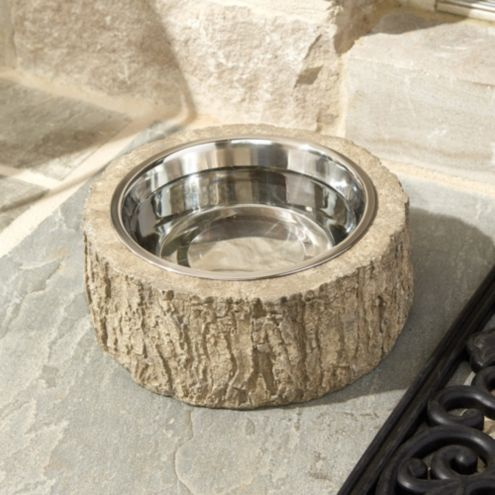 Faux Bois Outdoor Pet Bowl with Liner