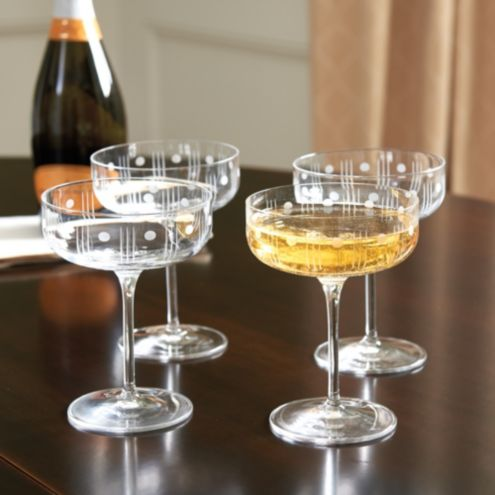 Dots Coupe Champagne Glasses - Set of 4