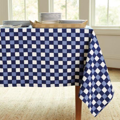 Bunny Williams Blue Checkered Tablecloth