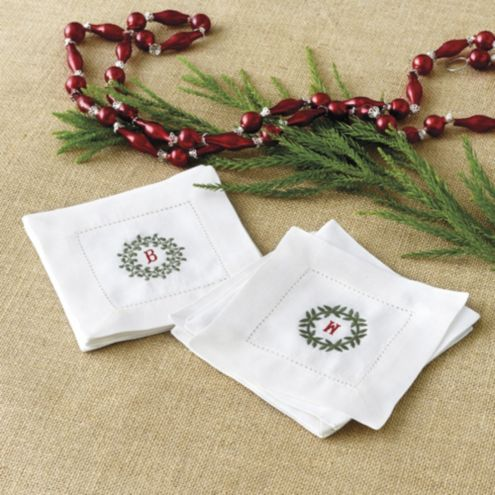 Bunny Williams Wreath Embroidered Cocktail Napkins | Set