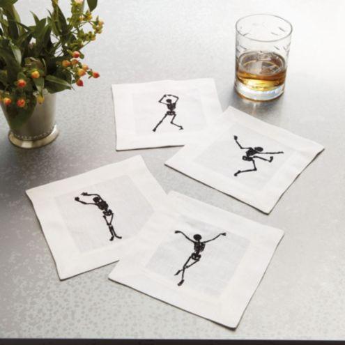 Dancing Skeleton Cocktail Napkins - Set of 4