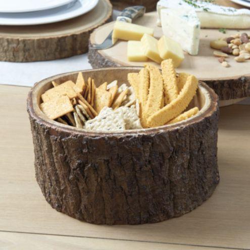 Wood Bark Serving Bowl