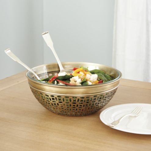 Valencia Metal Round Serving Bowl with Glass Insert
