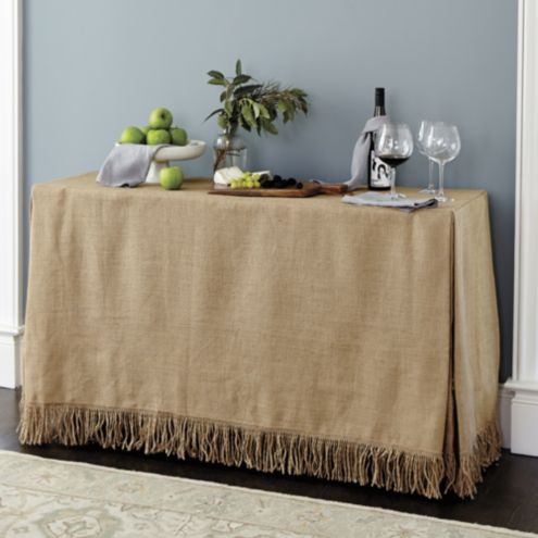 Fringed Burlap Serving Tablecloth