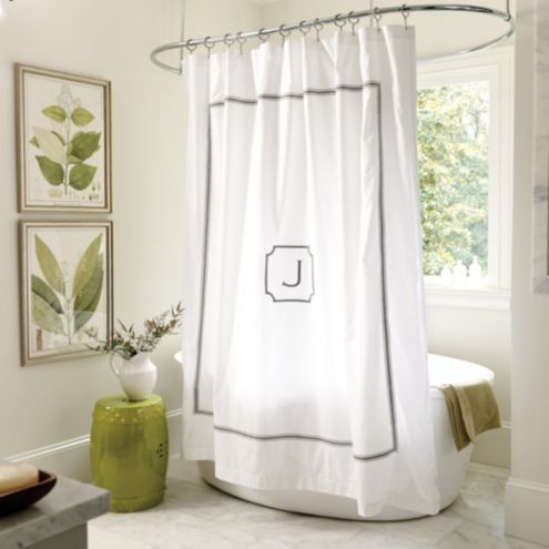 Amelie Embroidered Shower Curtain - Gray
