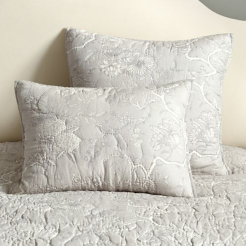 Jardin Toile Quilted Sham - Gray