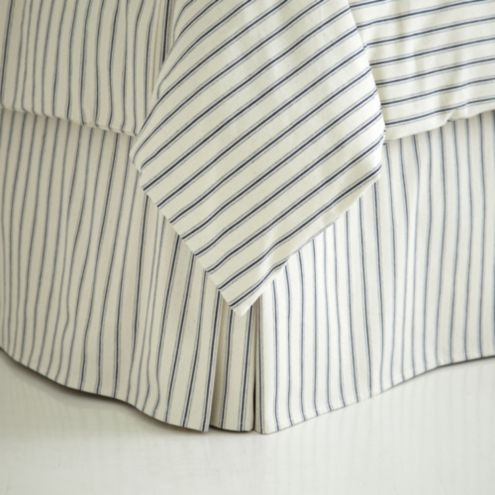 Ticking Stripe Bedskirt - Navy