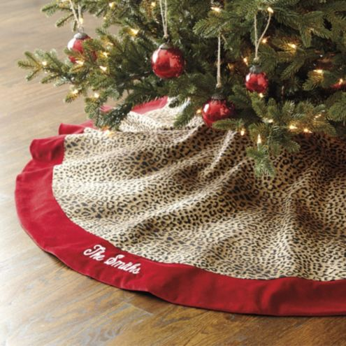 Cheetah Tree Skirt with Velvet Trim