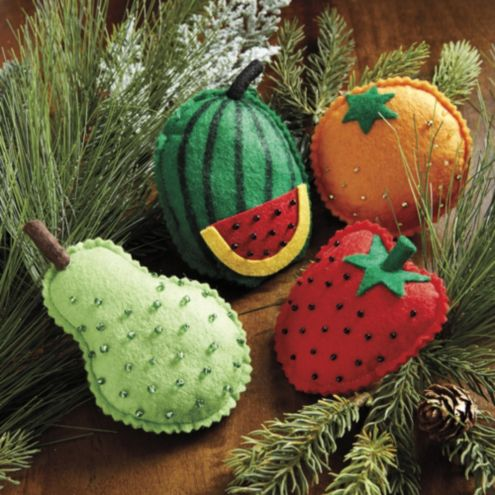 Bunny Williams Felt Fruit Ornaments - Set of