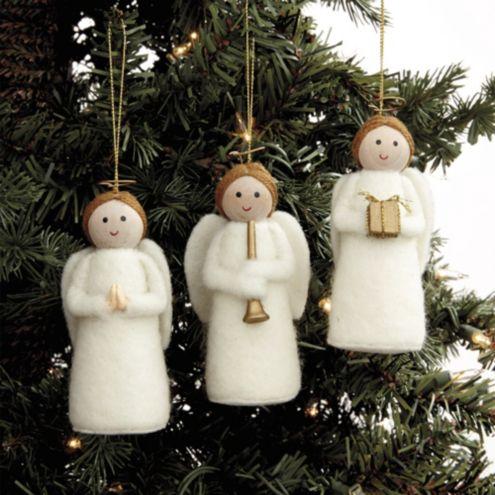 Felt Angel Ornaments - Set of 3