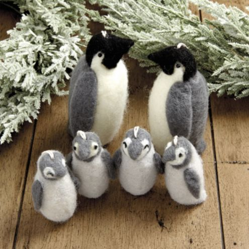 Felt Penguin Family Ornaments - Set of 6