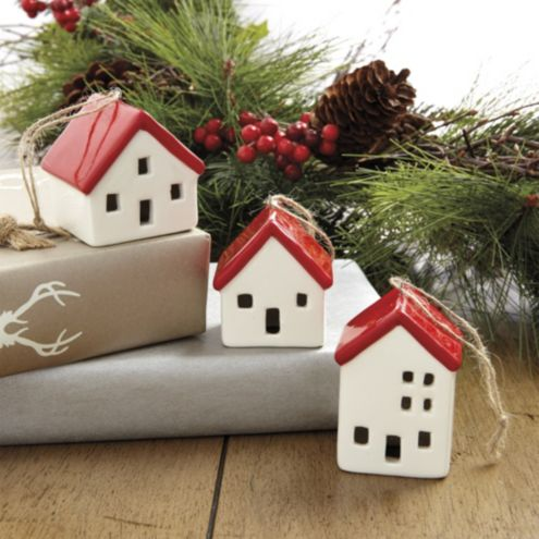 Ceramic Cottage Ornaments - Set of 3