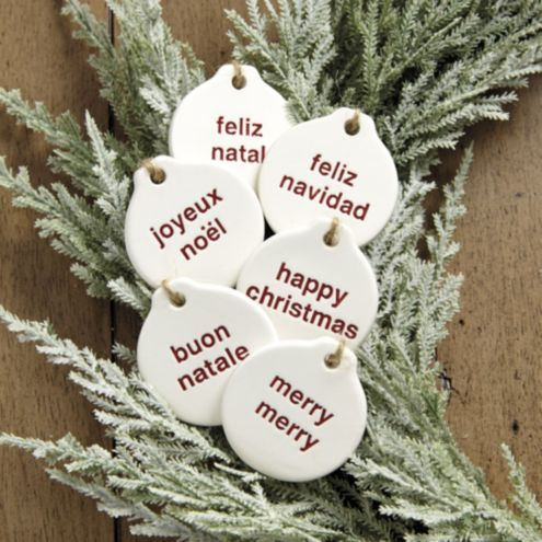 Ceramic Holiday Greeting Baubles - Set of 6