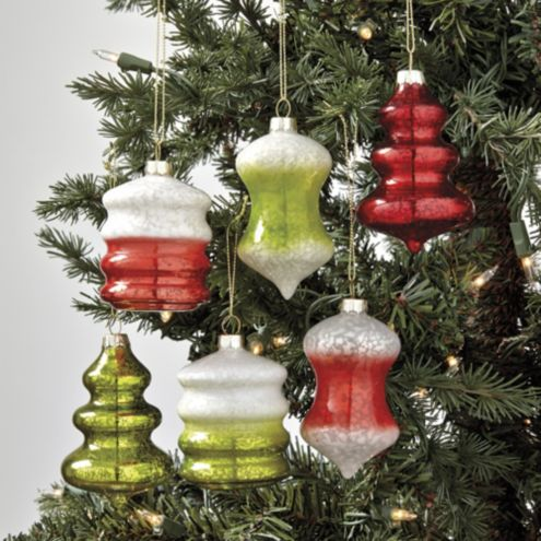 Vintage Glass Ornaments - Set of 6