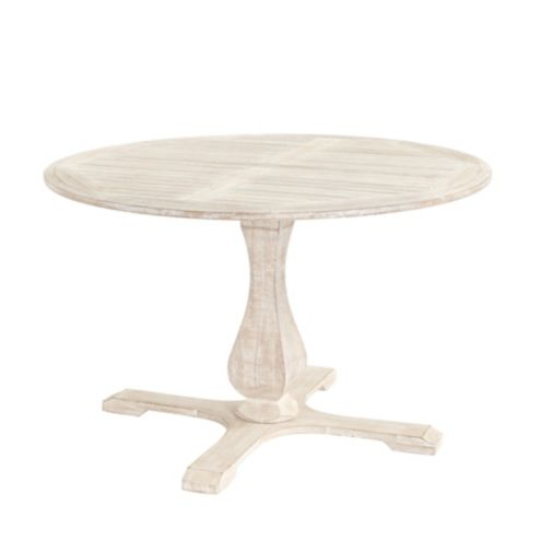 Ceylon Whitewash Round Pedestal Dining Table - 48
