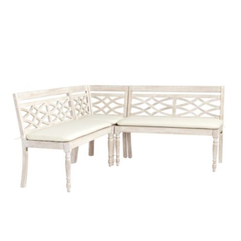 Ceylon Whitewash 3-Piece Dining Banquette Set