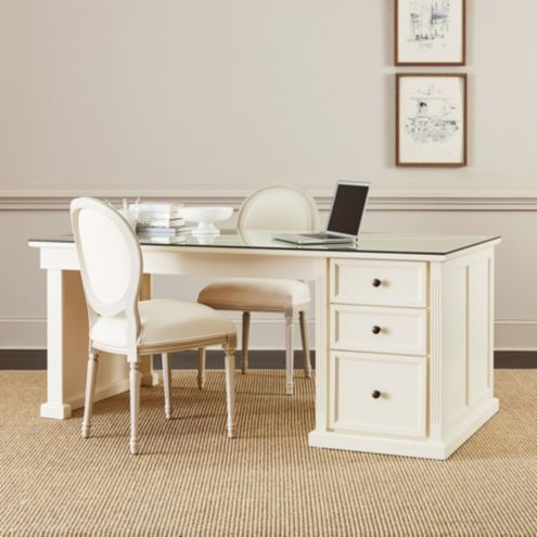 Tuscan Desk Return with Glass