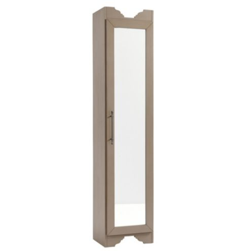 Brushed Taupe Sarah Storage Tower - Mirrored Door