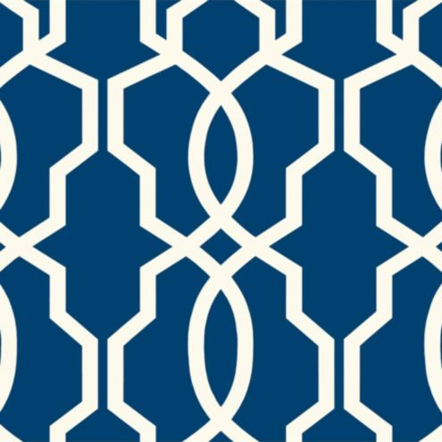 Imperial Trellis Wallpaper Swatch - Blue/White