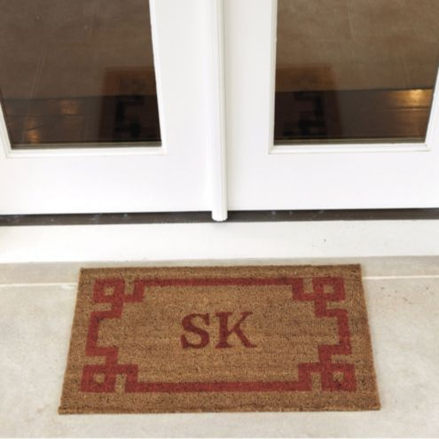 Suzanne Kasler Greek Key Personalized Coir Mat