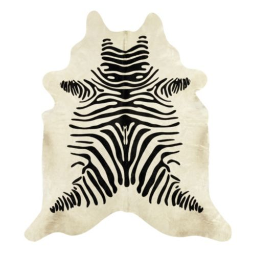 Natural Cowhide Rug - Stenciled Black and White