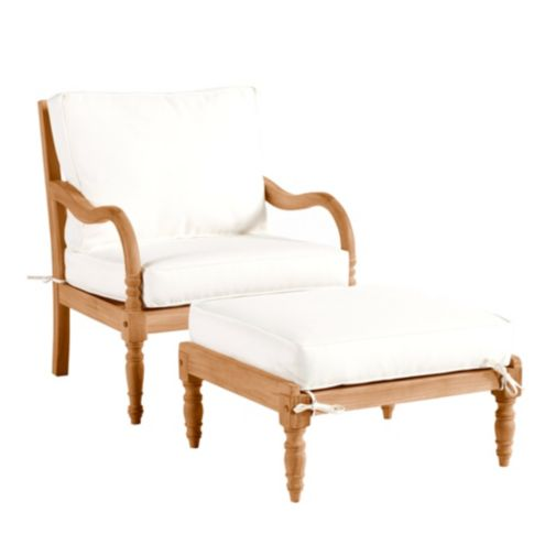 Ceylon Lounge Chair & Ottoman with Cushions