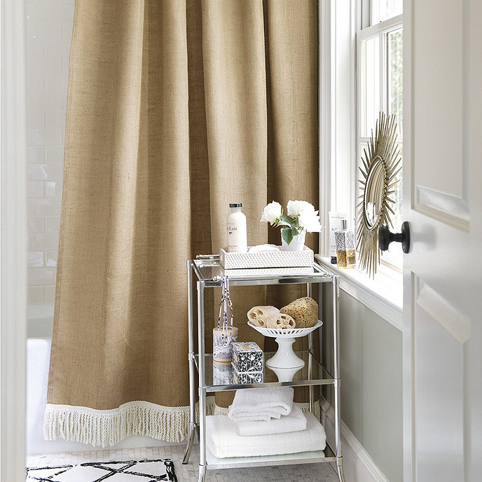 Burlap shower curtain with bullion fringe ballard designs for Ballard designs bathroom rugs