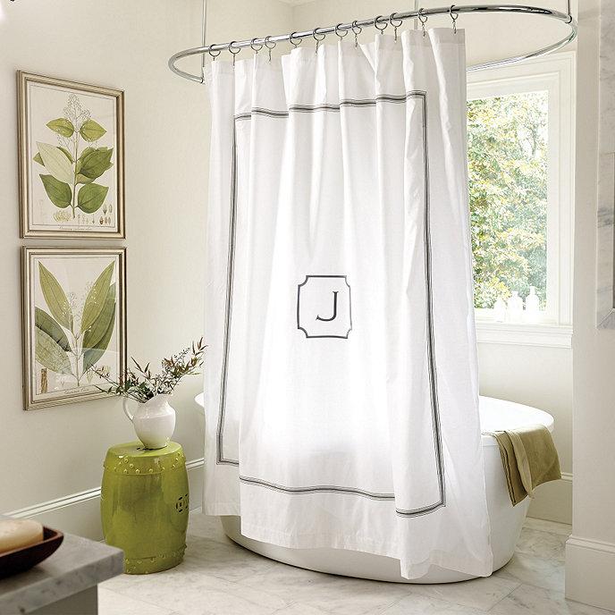 Amelie Embroidered Shower Curtain - Gray | Ballard Designs