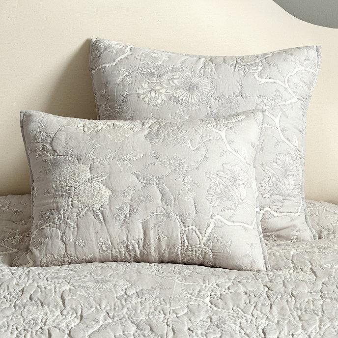 jardin toile quilt gray ballard designs