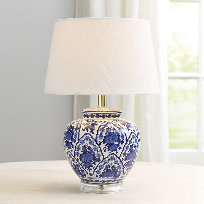 Blue Amp White Round Table Lamp