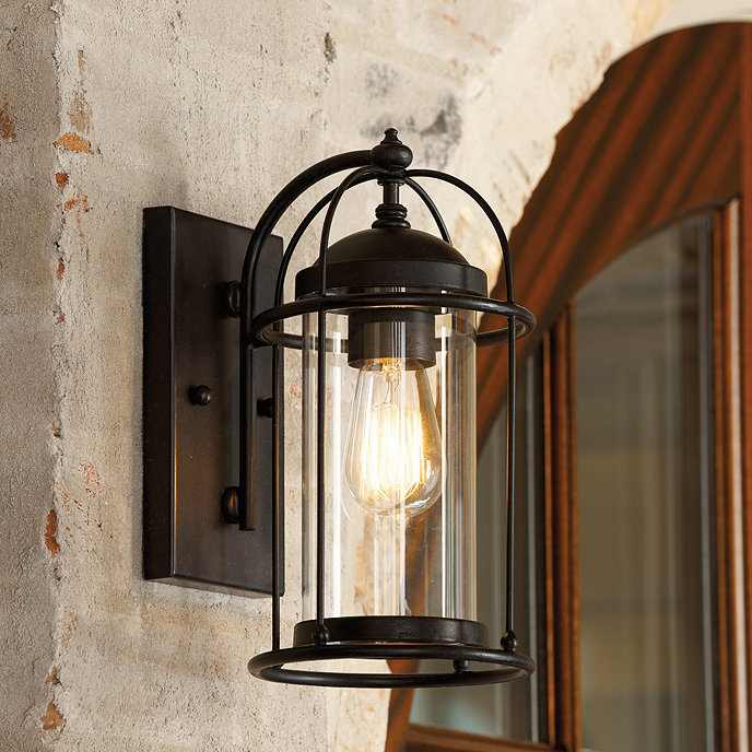 Hampton bay 1light brick patina outdoor cottage lanternboa1691hb wall lights led bathroom - Battery operated crystal wall sconces ...