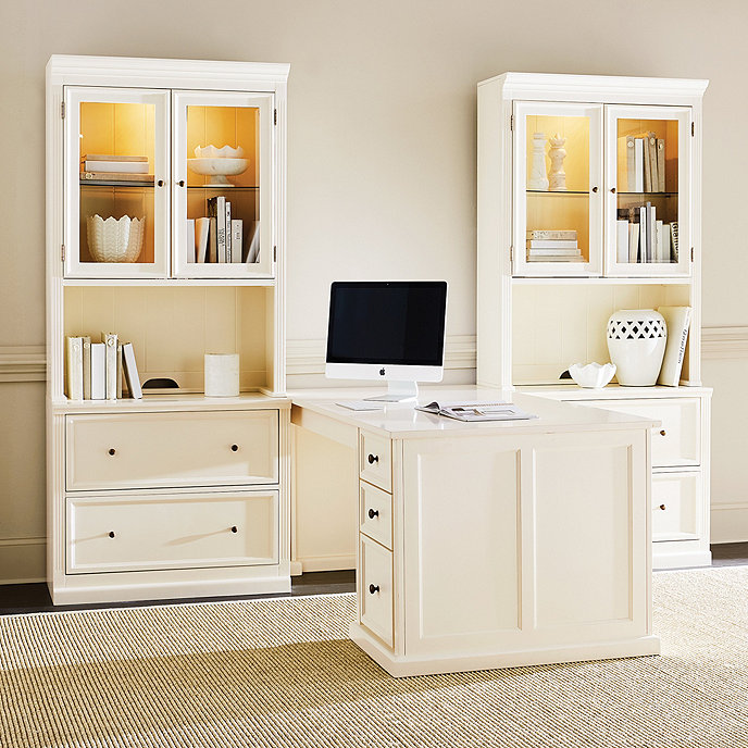 Tuscan desk return with 2 file consoles and 2 hutches - Ballard design home office ...