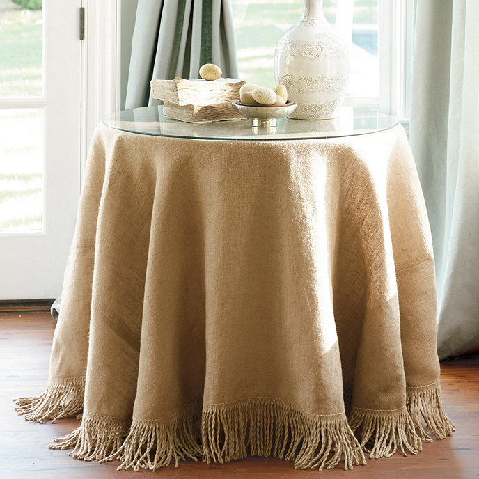 Fringed Burlap Trio With Table Glass Amp Tablecloth