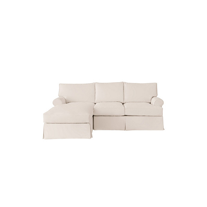 Davenport 2 piece sectional with left arm chaise slipcover for Chaise couch slipcover