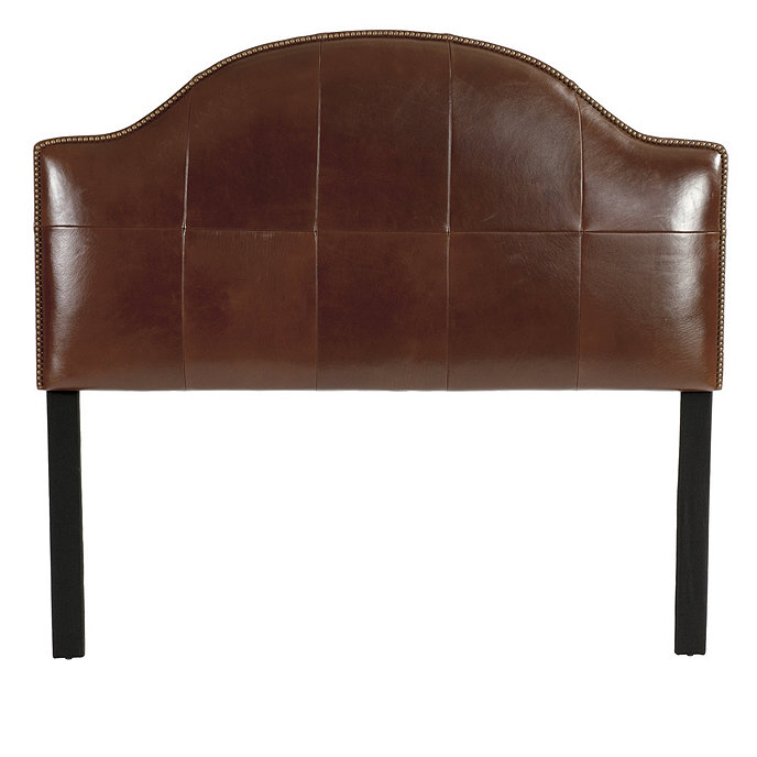Camden leather headboard with nailheads ballard designs for Leather headboard designs