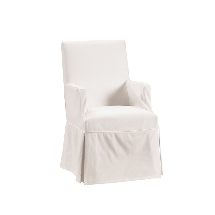 Off White Twill Parsons Armchair Slipcover