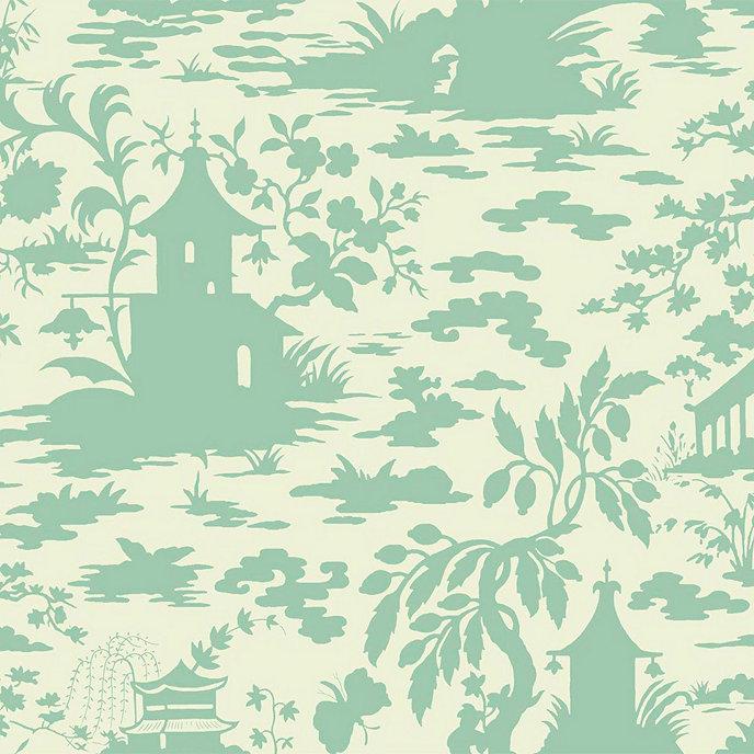 asian scenic toile wallpaper cream spa blue double roll