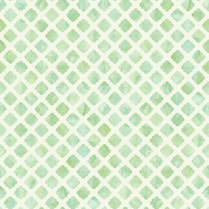 Watercolor tile wallpaper green white double roll for Green and white wallpaper
