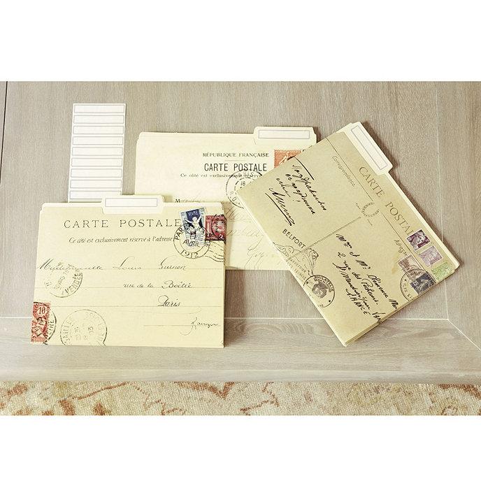set of 12 carte postale file folders ballard designs. Black Bedroom Furniture Sets. Home Design Ideas