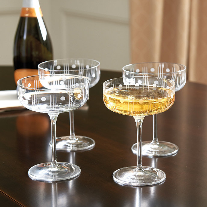 dots coupe champagne glasses set of 4 ballard designs. Black Bedroom Furniture Sets. Home Design Ideas