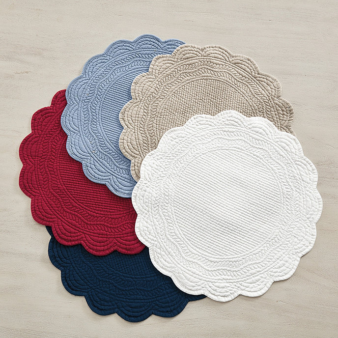 Marseille set of 4 linen round placemats ballard designs for Small square placemats
