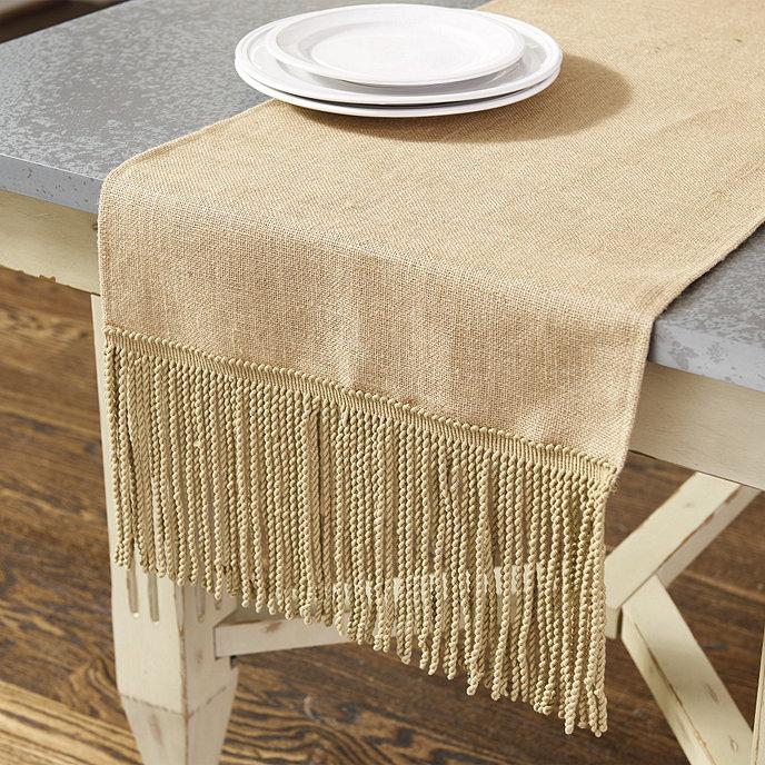 Fringed Burlap Table Runner Ballard Designs